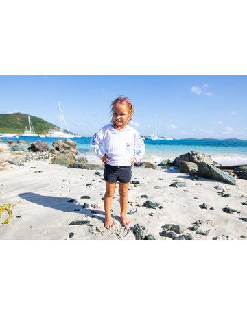 Ocean Surfari OS SPF 50+ Performance Youth Hoodie VI Flag White