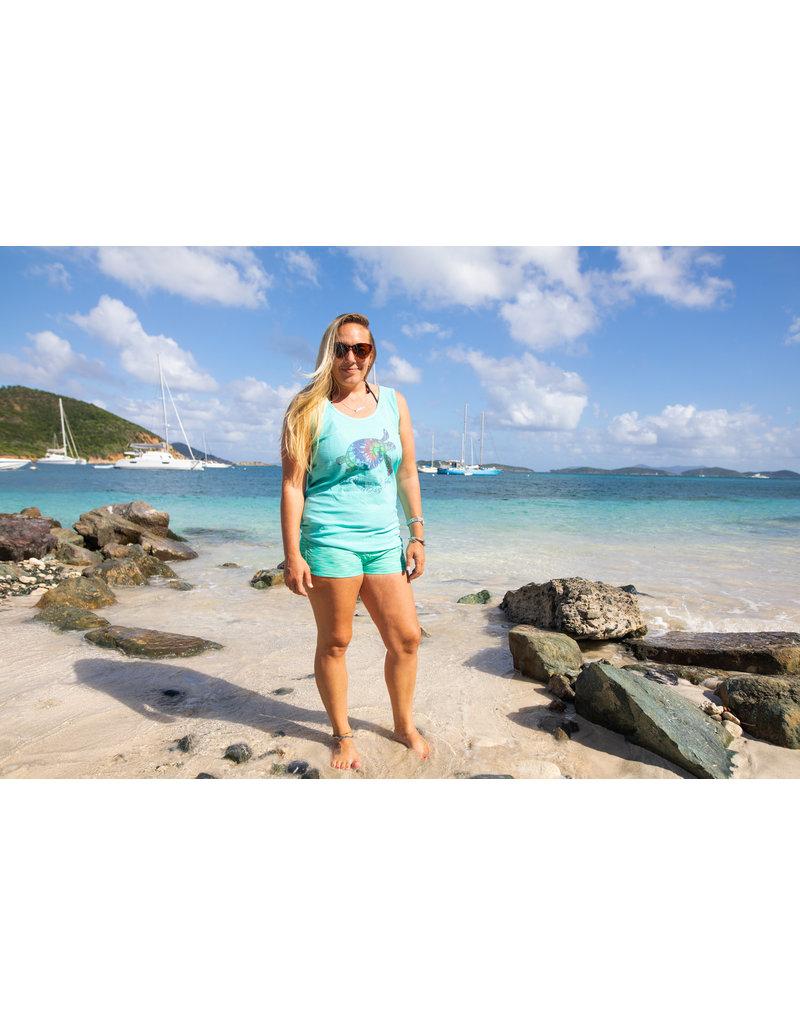 Ocean Surfari Missy Slub Tank Aqua Turtle Bliss