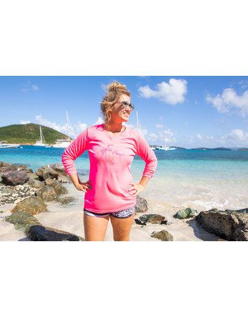 Ocean Surfari OS SPF 50+ Performance Lad LS Neon Pink Flamingos