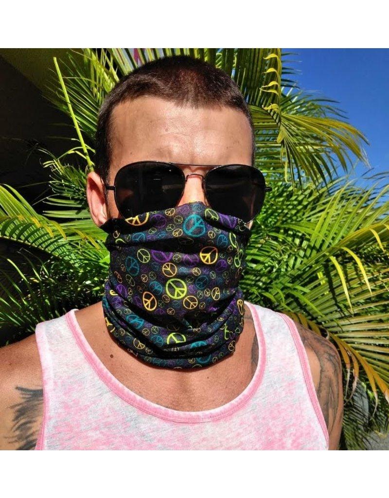 Ocean Surfari Black Peace Signs Sun Shield Buff