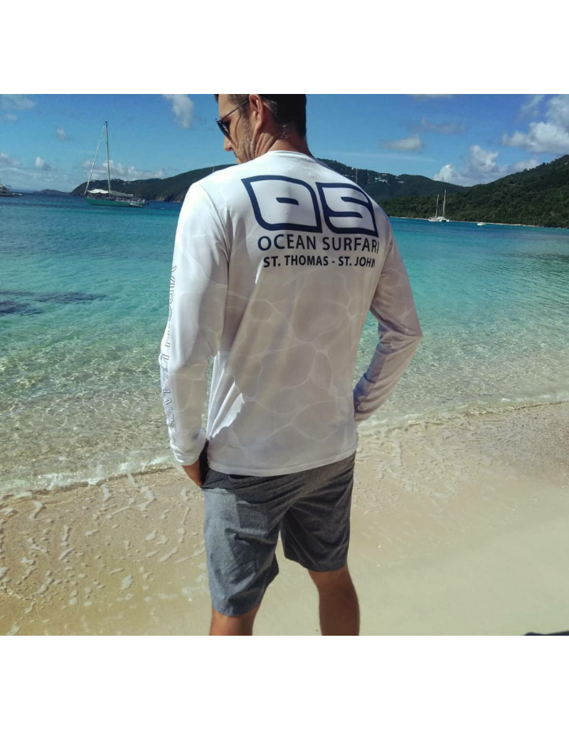 Ocean Surfari OS SPF 50+ Performance Men's LS White Water