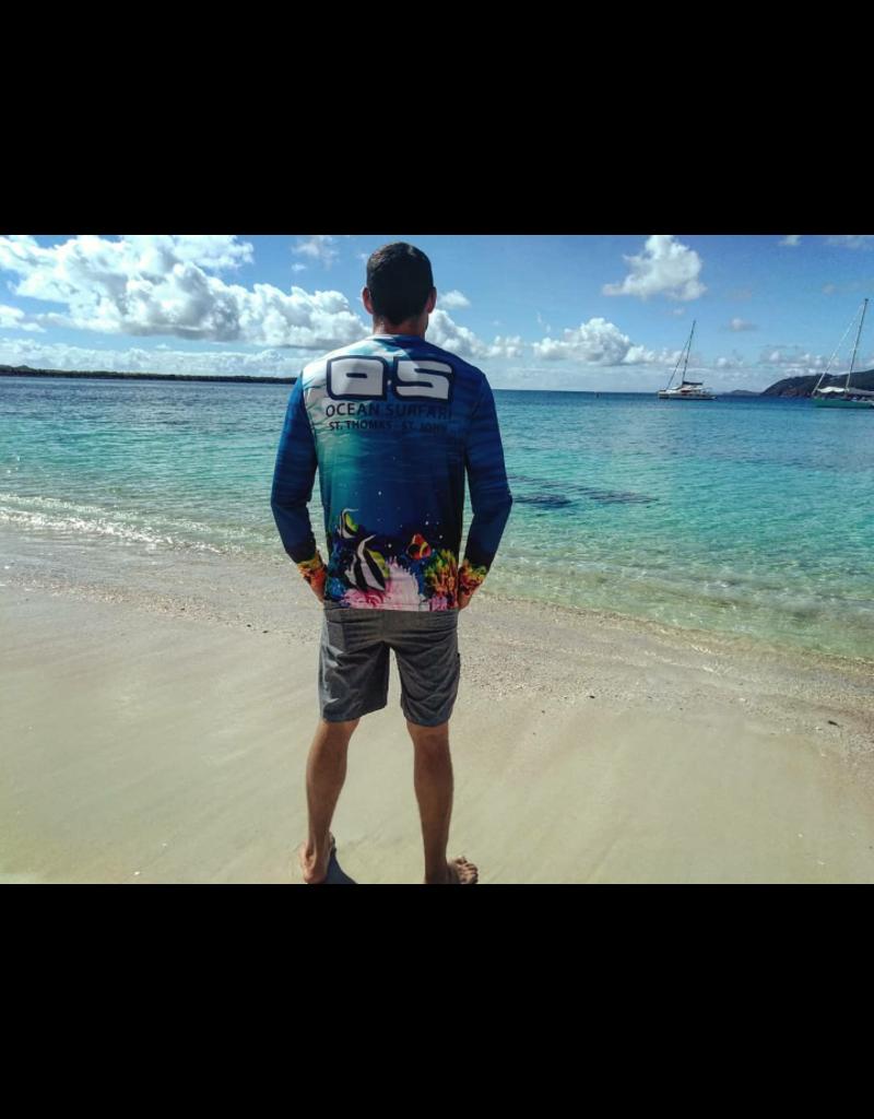 Ocean Surfari OS SPF 50+ Performance Men's LS Coral Reef