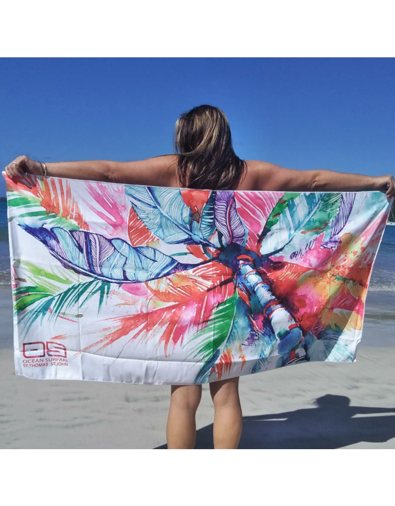 Ocean Surfari Watercolor Palm Tree Towel