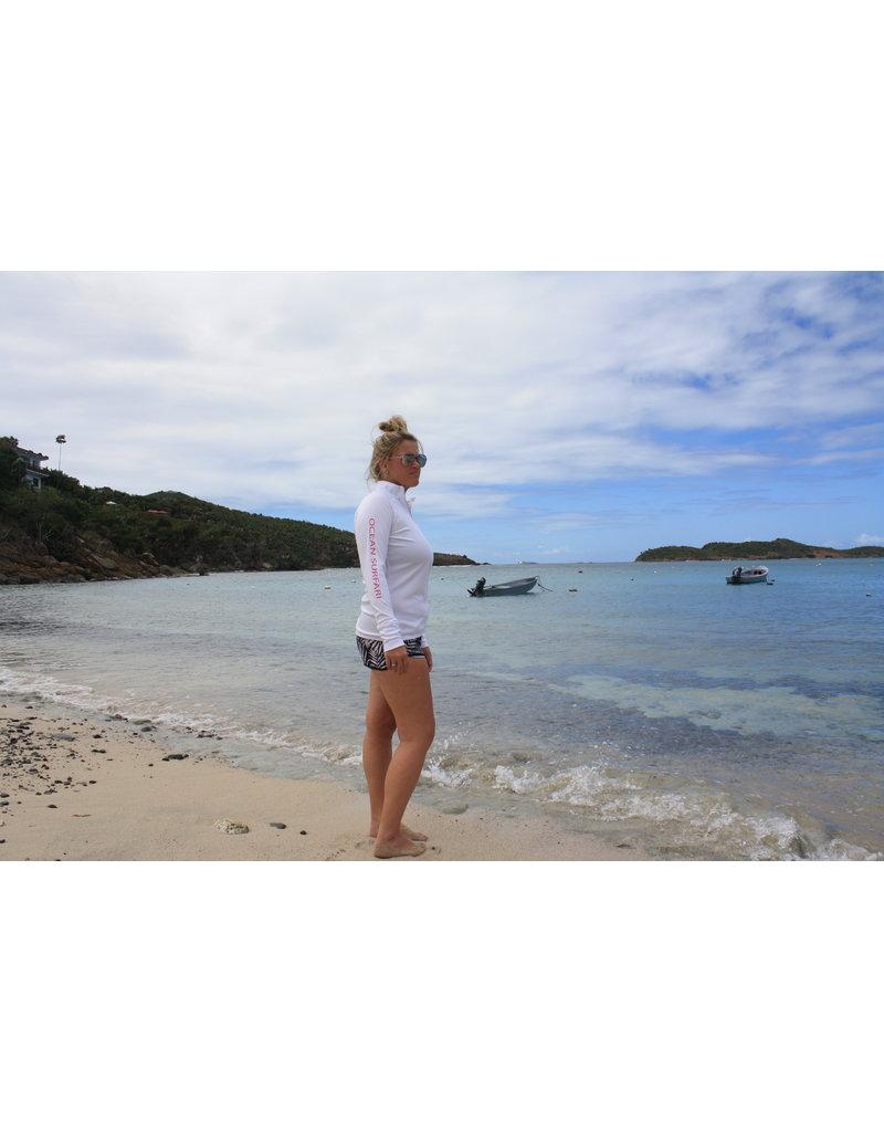 Ocean Surfari OS SPF 50+ Performance Lad LS 1/4 Zip White