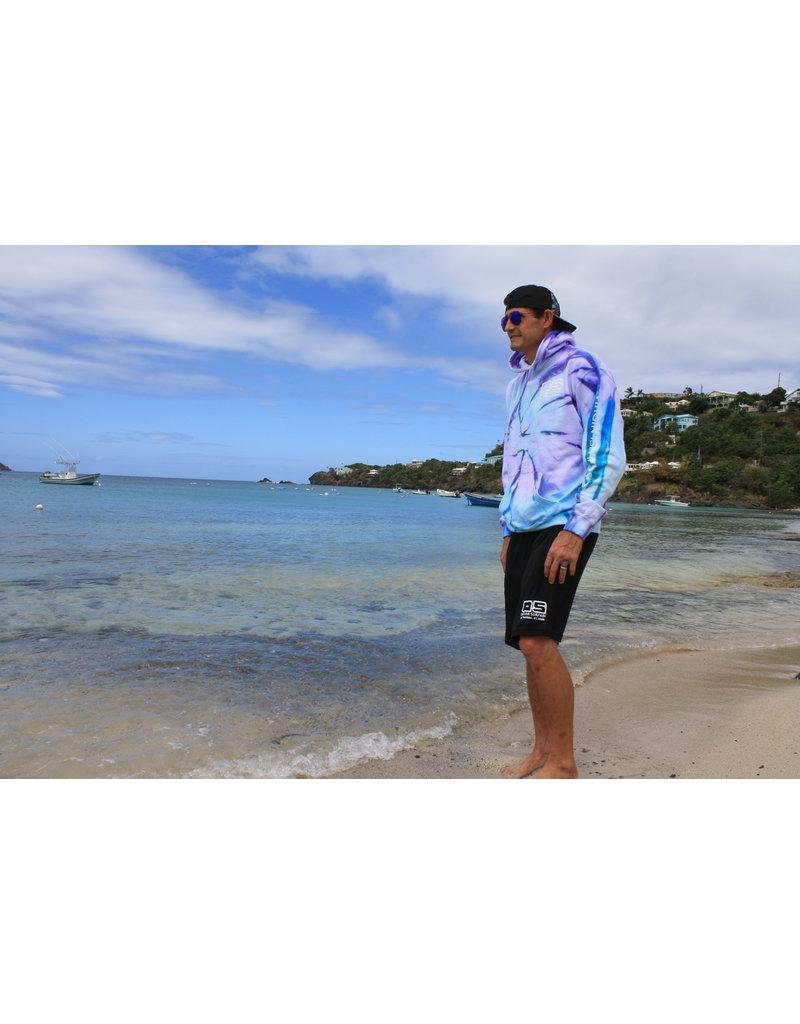 Ocean Surfari Tie Dye Hooded Sweatshirt Seafoam Violet Blue