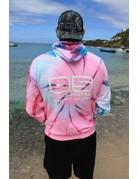 Ocean Surfari Tie Dye Hooded Sweatshirt Pink Seafoam