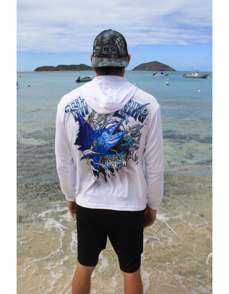 Ocean Surfari OS SPF 50+ Performance Men's HoodieStrikezone Sailfish White