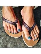 Ocean Surfari Metallic Print Ladies Flip Flops Rose