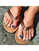 Ocean Surfari Metallic Print Ladies Flip Flops Copper