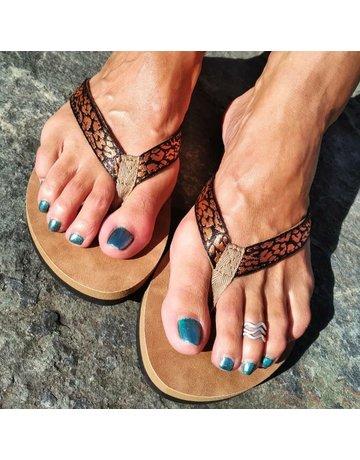 Ocean Surfari Metallic Print Ladies Flip Flops Copper