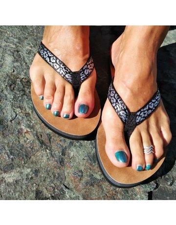 Ocean Surfari Metallic Print Ladies Flip Flops Silver
