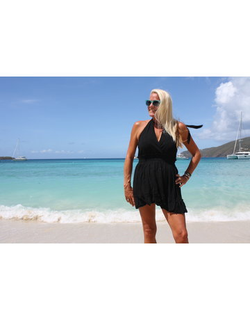 Ocean Drive Fashion Halter Dress Black Eyelet Embroidery