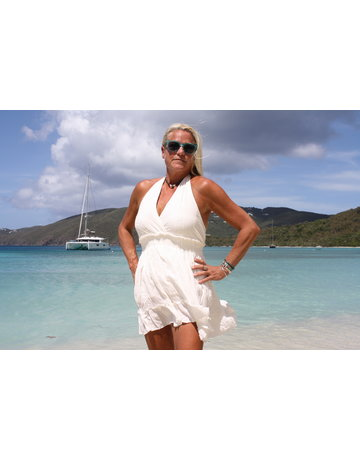 Ocean Drive Fashion Halter Dress Ivory Eyelet Embroidery