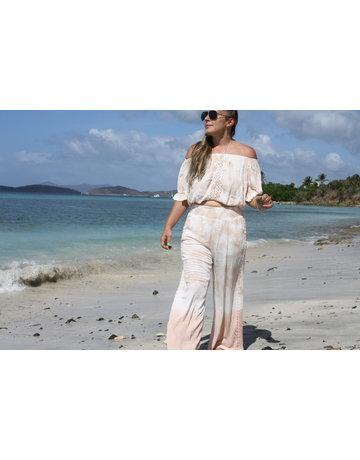 Ocean Drive Fashion Off Shoulder Top Soft Mauve Dip Dye