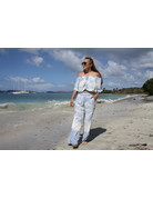 Ocean Drive Fashion Off Shoulder Top Soft Denim Dip Dye