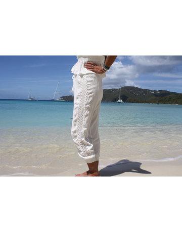 Ocean Drive Fashion Jogger White Crochet Trim