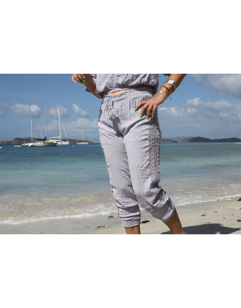 Ocean Drive Fashion Jogger Dusty Lavendar Crochet Trim