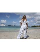 Ocean Drive Fashion Off Shoulder Top Blue Palm Leaf