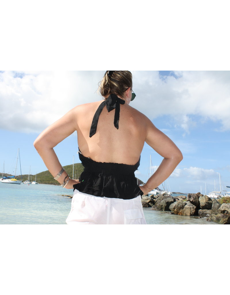 Ocean Drive Fashion Halter Top Black Eyelet Embroidery