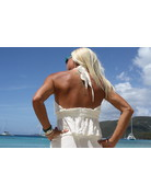 Ocean Drive Fashion Halter Top Ivory Eyelet Embroidery