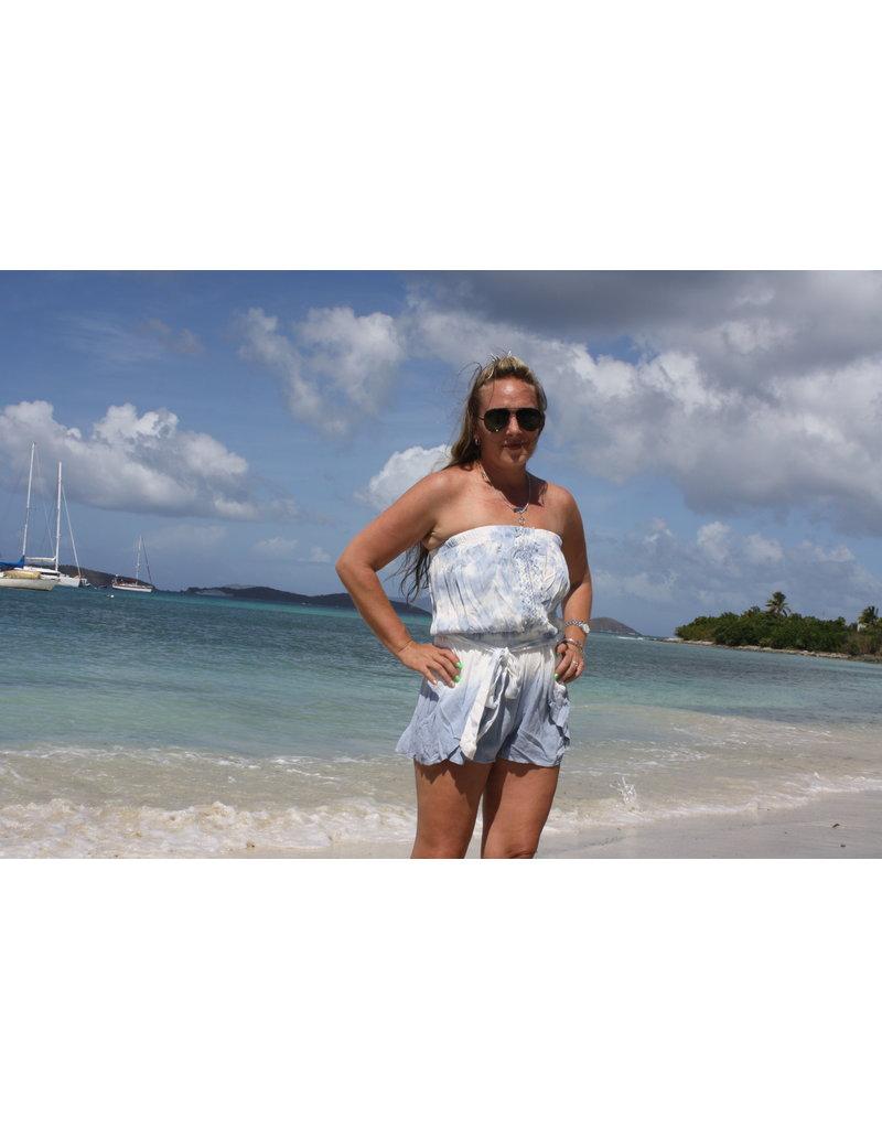 Ocean Drive Fashion Romper Soft Denim Dip Dye