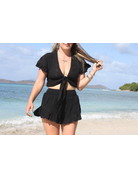 Ocean Drive Fashion Short Black Eyelet Embroidery