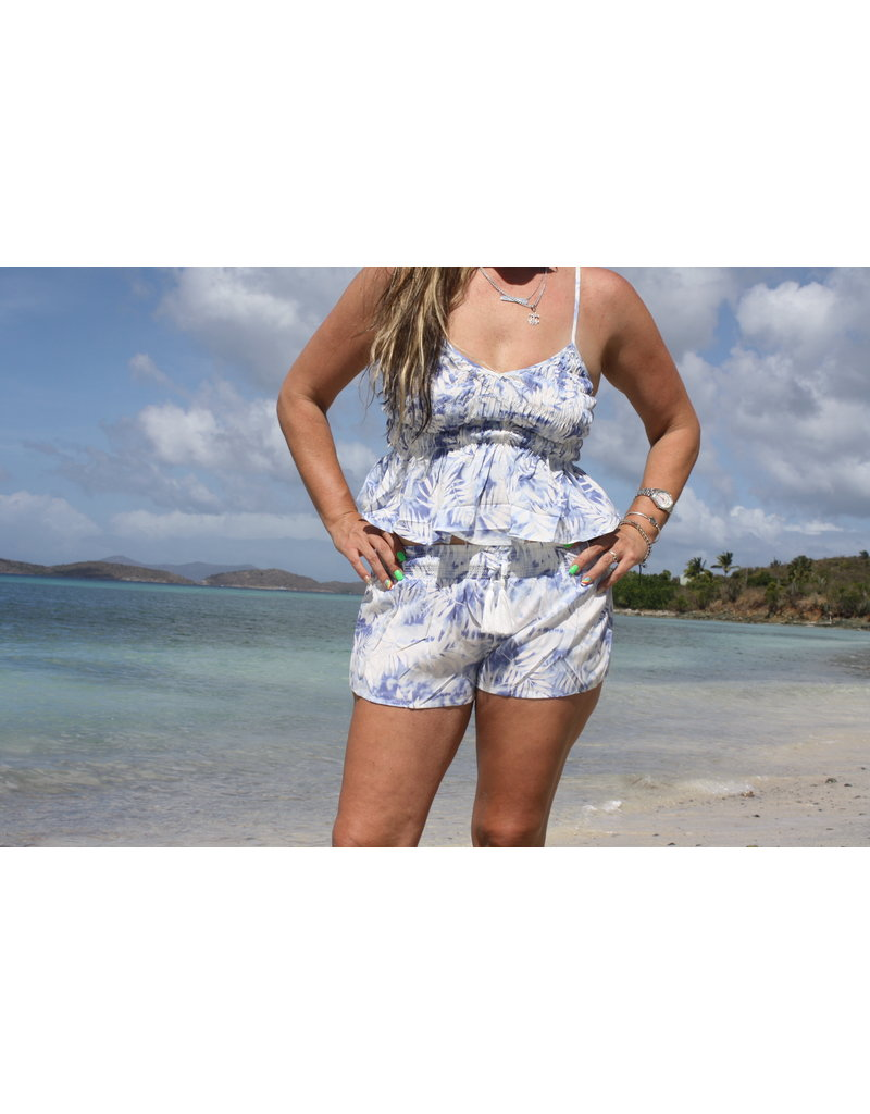 Ocean Drive Fashion Tank Blue Palm Leaf