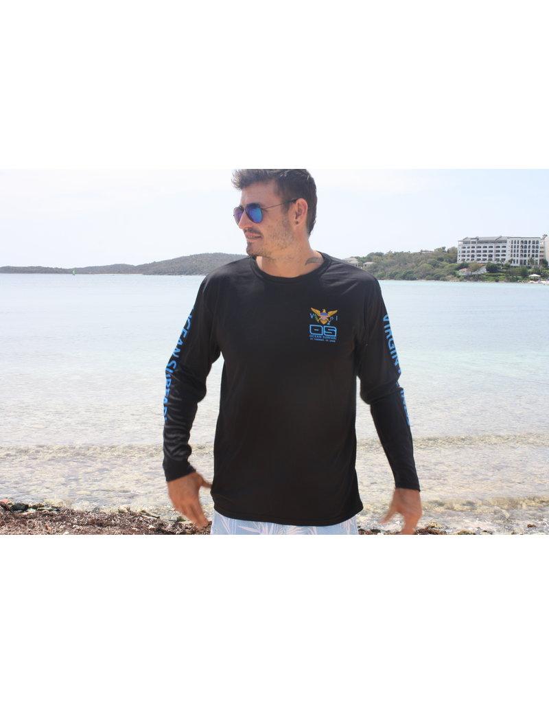 Ocean Surfari OS SPF 50+ Performance Men's LS VI Flag Black