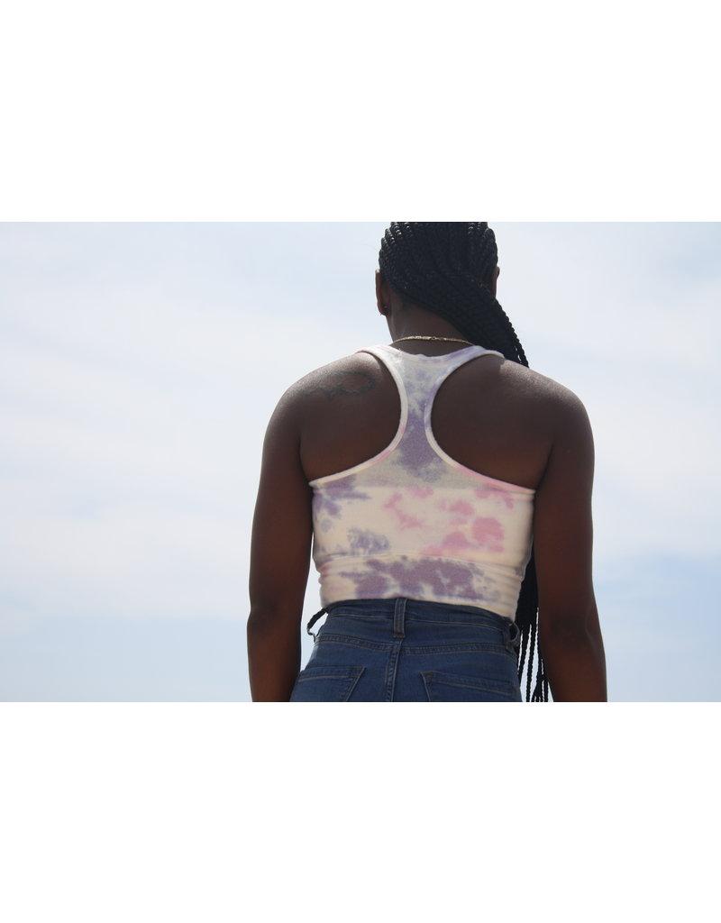 Ocean Surfari Ladies Hacci Tie Dye Racerback Crop Jasmine
