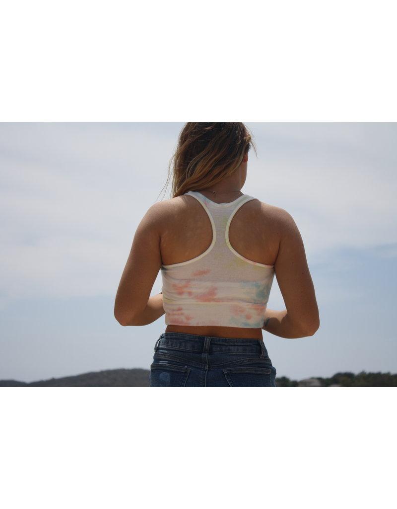 Ocean Surfari Ladies Hacci Tie Dye Racerback Crop Sunkissed