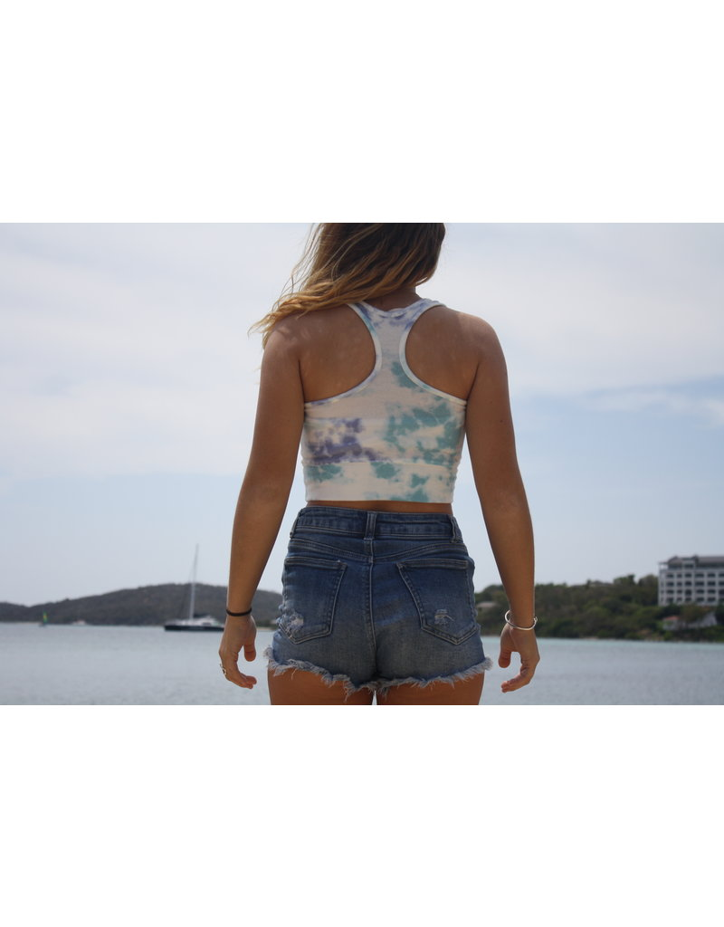 Ocean Surfari Ladies Hacci Tie Dye Racerback Crop Saltwater