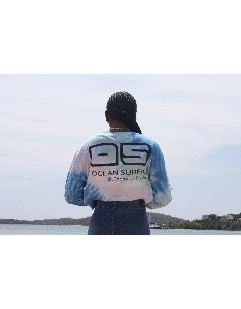Ocean Surfari Ladies Diagonal Tie Dye Crop LS Snowcone