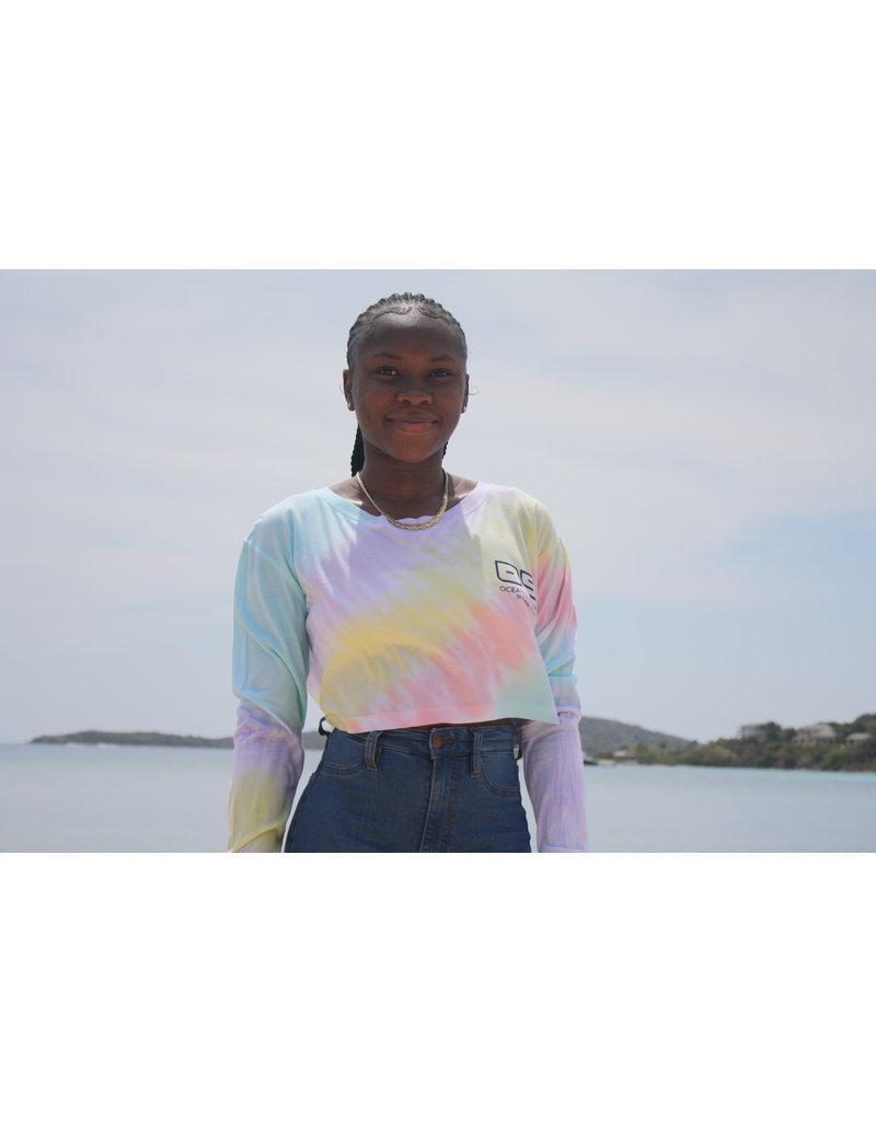 Ocean Surfari Ladies Diagonal Tie Dye Crop LS Sorbet