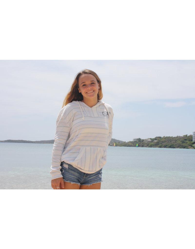 Ocean Surfari Ladies Stripe Terry Knit Baha Hoodie Paradise