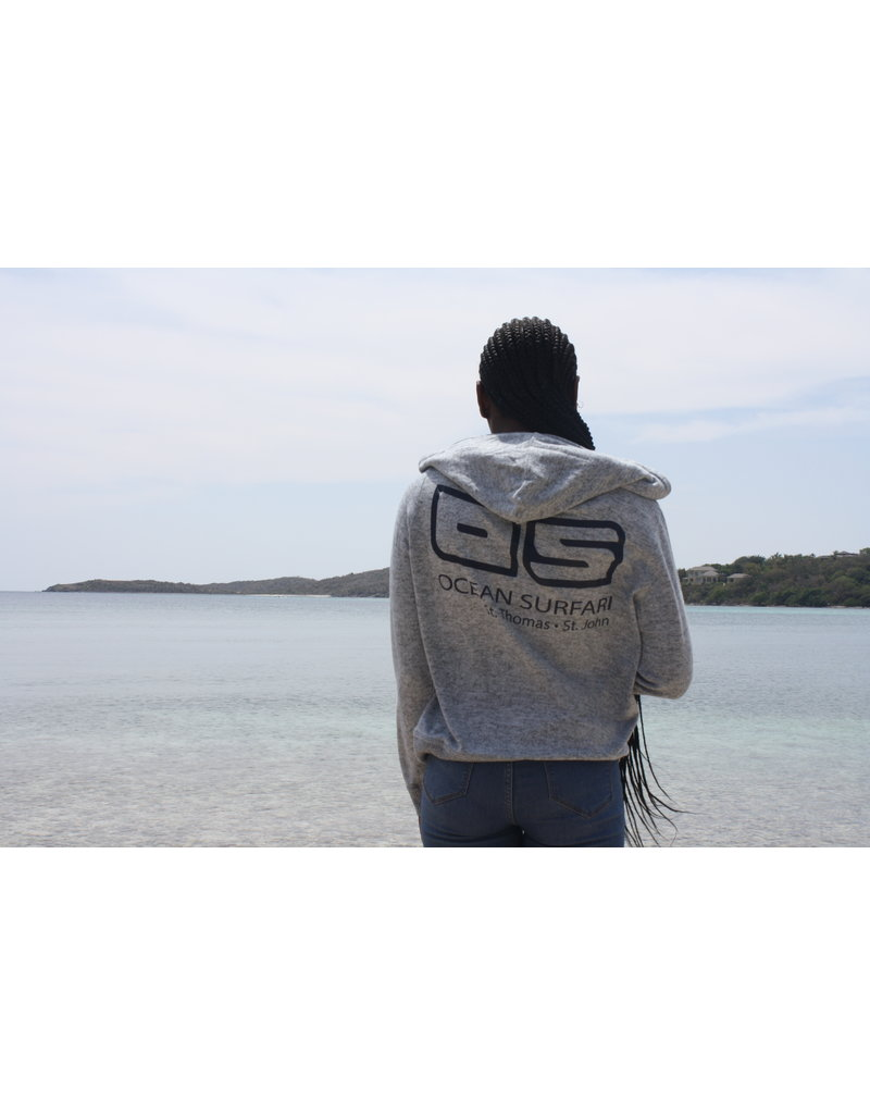 Ocean Surfari Ladies Brushed Hacci Zip Hoodie Grey