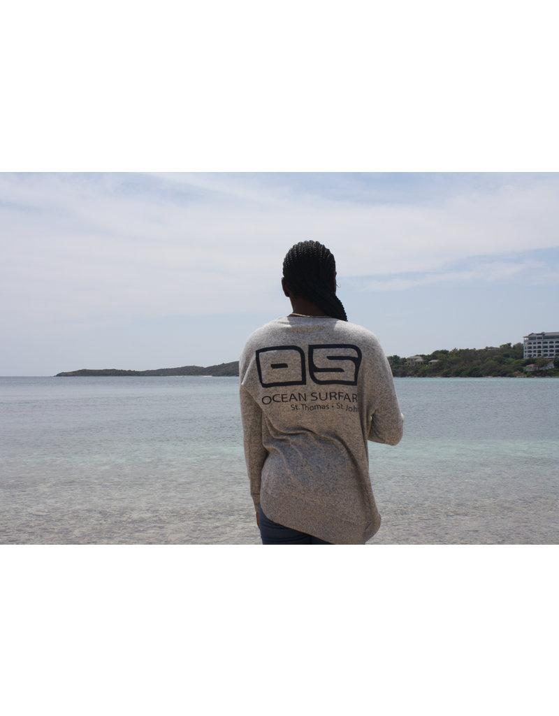Ocean Surfari Ladies Hacci Crewneck Grey