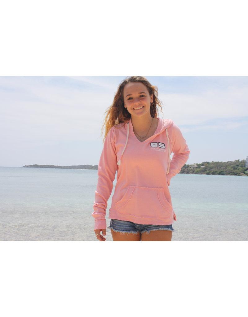 Ocean Surfari Ladies Burnout P/O Hoodie Seashell Pink