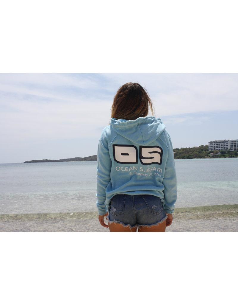 Ocean Surfari Ladies Burnout P/O Hoodie Bermuda Blue