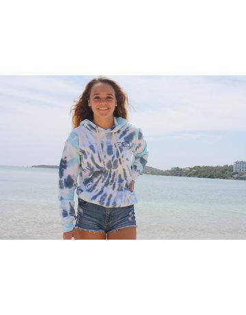 Ocean Surfari Ladies Tie Dye Burnout Hoodie Nautical Swirl