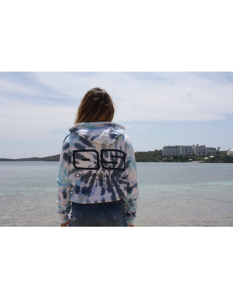 Ocean Surfari Ladies Tie Dye Burnout Hoodie Nautical Swirl