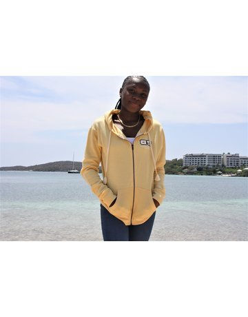 Ocean Surfari Ladies Burnout Full Zip Hoodie Butter
