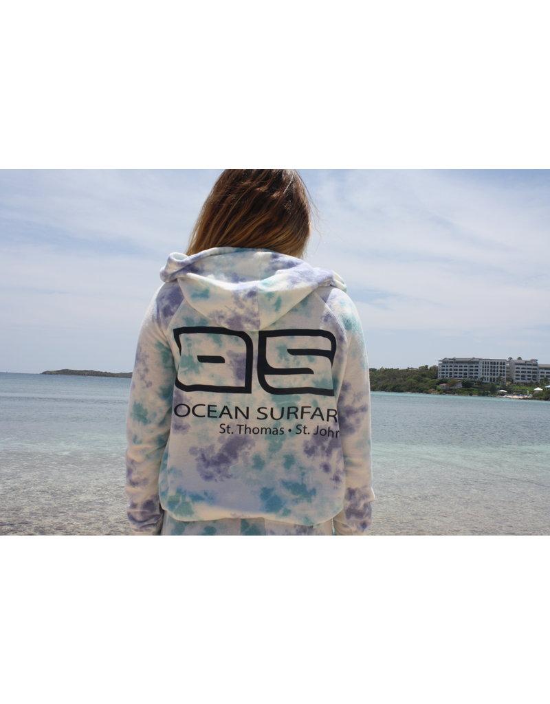 Ocean Surfari Ladies Tie Dye Hacci Front Pocket Hoodie Saltwater
