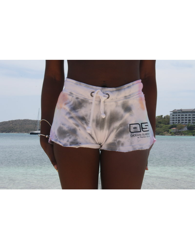 Ocean Surfari Ladies Tie Dye Burnout Shorts Lollipop