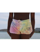Ocean Surfari Ladies Tie Dye Burnout Shorts Sunshine Swirl