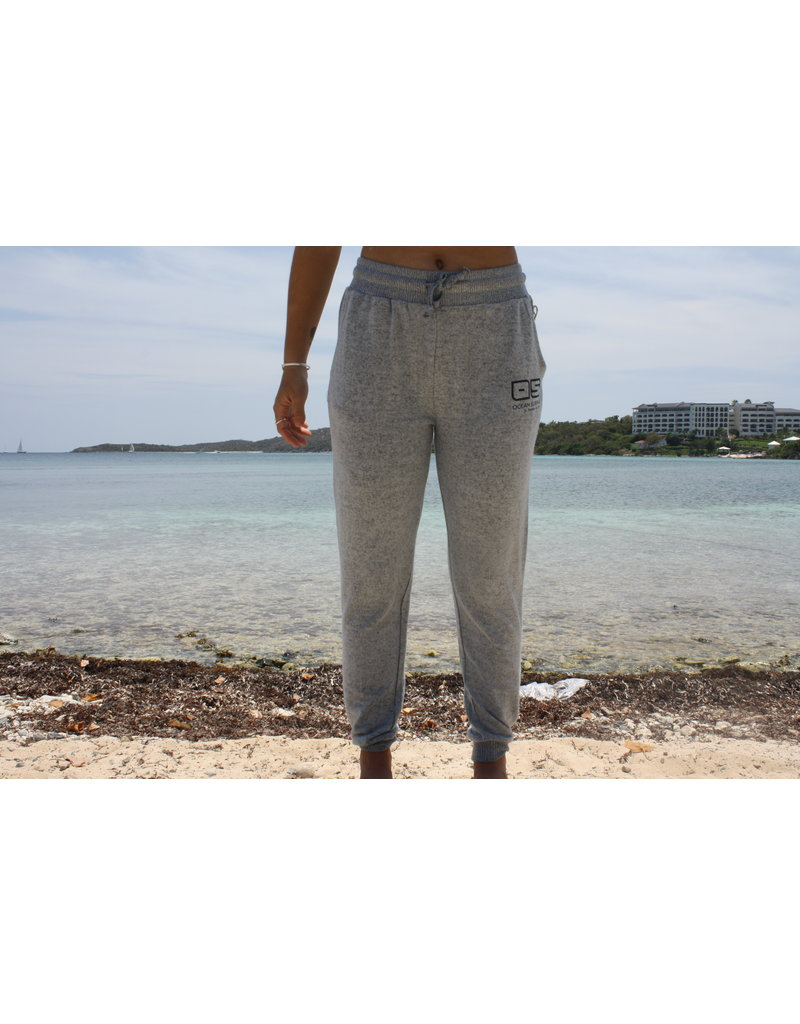 Ocean Surfari Ladies Hacci Front Tie Jogger Blue