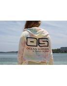 Ocean Surfari Ladies Tie Dye Hacci Front Pocket Hoodie Sunkissed