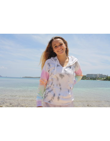 Ocean Surfari Ladies Tie Dye Burnout P/O Hoodie Lollipop