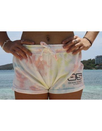 Ocean Surfari Ladies Tie Dye Hacci  Shorts Sunkissed