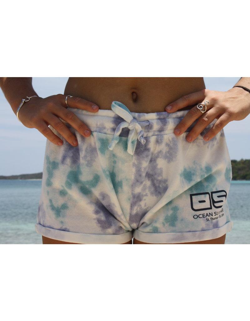 Ocean Surfari Ladies Tie Dye Hacci  Shorts Saltwater
