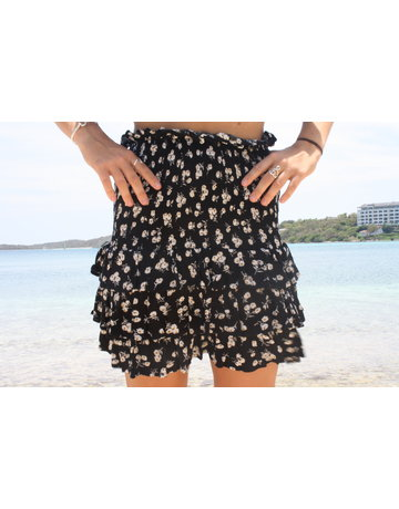 Ocean Drive Fashion Skirt Black Ditsy Floral